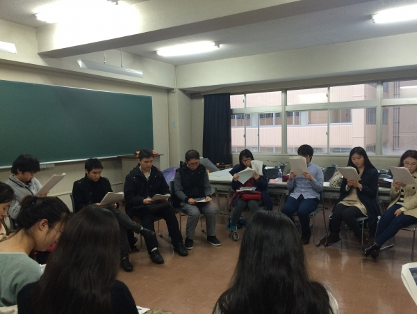 """Translated Poetry Readings"": Students translate poems originally written in their native language, and then read them aloud to their international and Japanese classmates."
